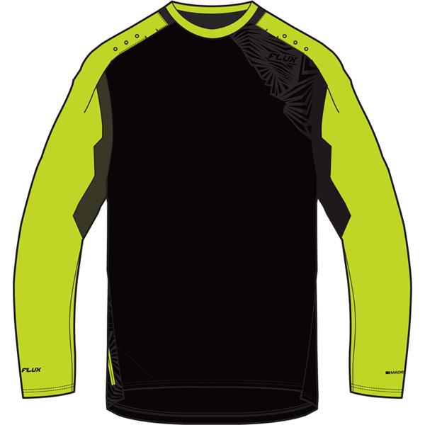Flux Enduro men's long sleeve jersey, black / krypton lime medium